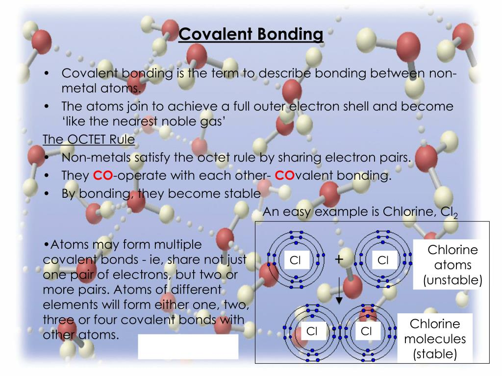 Atoms may form multiple covalent bonds - ie, share not just one pair of electrons, but two or more pairs. Atoms of different elements will form either one, two, three or four covalent bonds with other atoms.