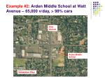 example 2 arden middle school at watt avenue 65 000 v day 98 cars