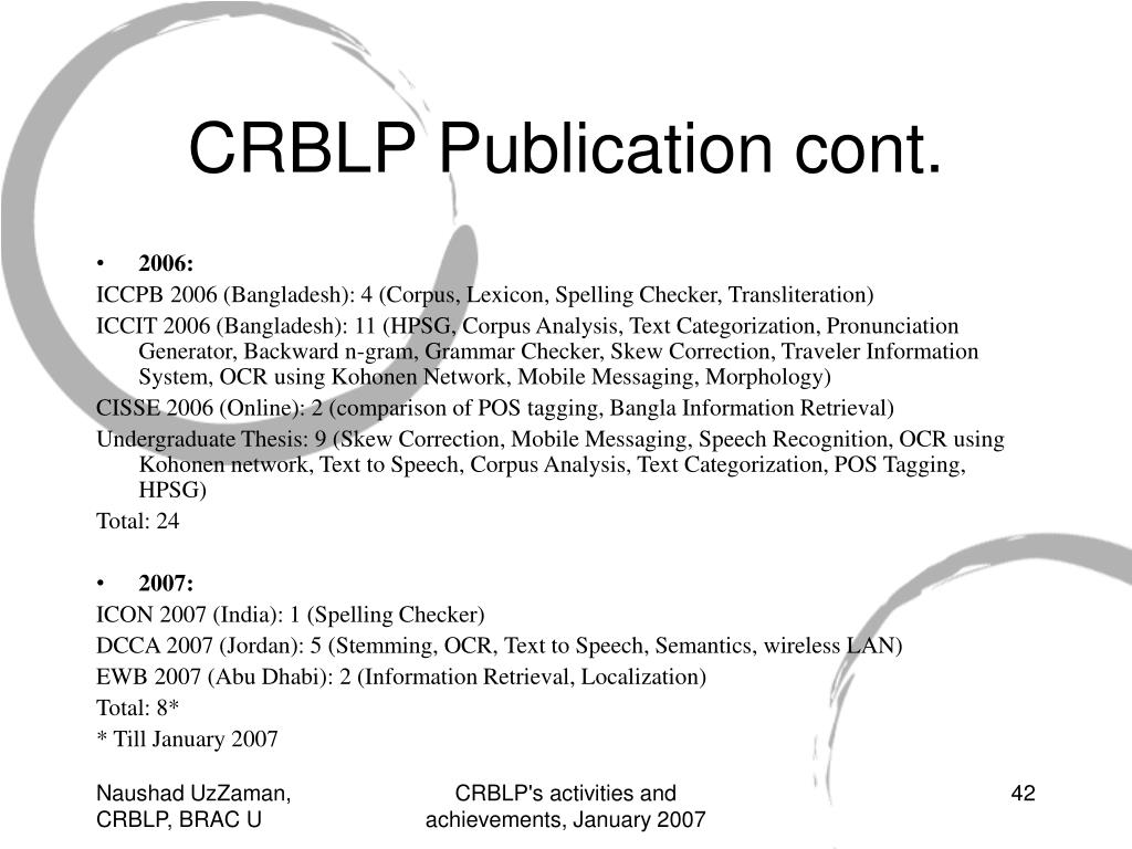 PPT - CRBLP's (Center for Research on Bangla Language Processing