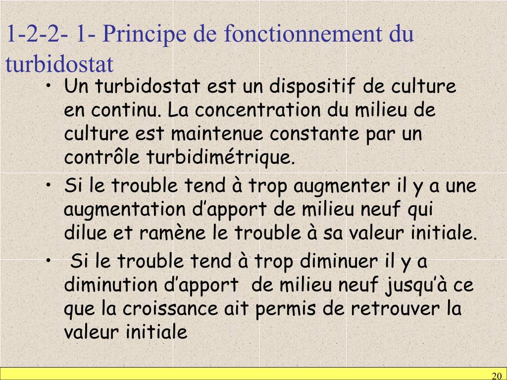 1-2-2- 1- Principe de fonctionnement du turbidostat