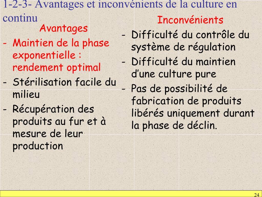1-2-3- Avantages et inconvénients de la culture en continu