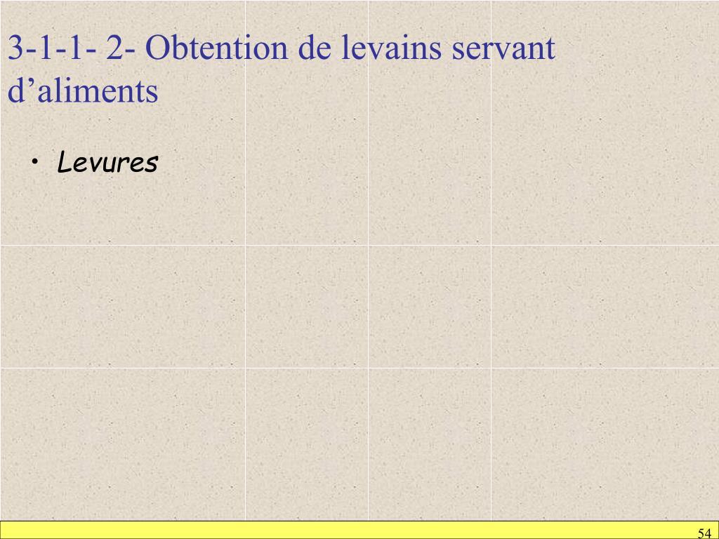 3-1-1- 2- Obtention de levains servant d'aliments