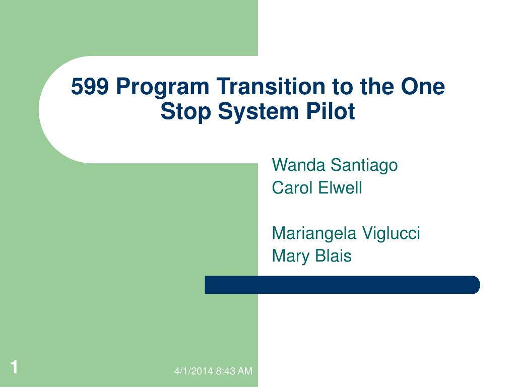 599 program transition to the one stop system pilot l.