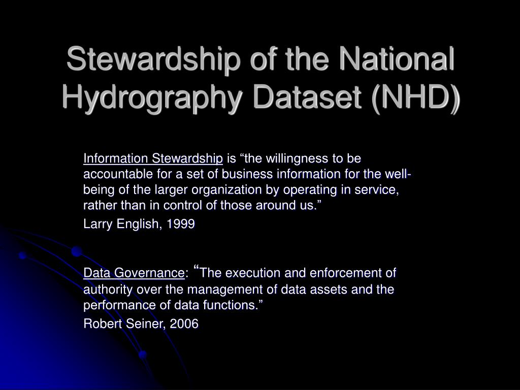 stewardship of the national hydrography dataset nhd l.