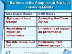barriers to the adoption of bio fuel buses in manila
