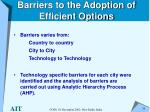 barriers to the adoption of efficient options34