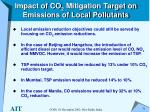 impact of co 2 mitigation target on emissions of local pollutants