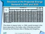 structure of the projected energy demand in 2005 and 2020