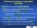 achieving international comparability ecotrim