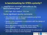 is benchmarking for stes a priority