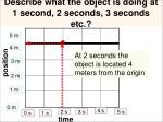 describe what the object is doing at 1 second 2 seconds 3 seconds etc3
