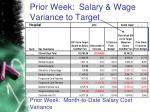 prior week salary wage variance to target