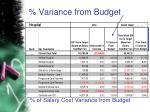 variance from budget
