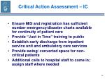 critical action assessment ic71