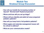 module two breakout group discussion