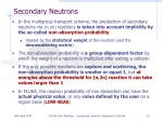 secondary neutrons