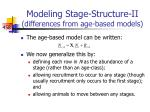modeling stage structure ii differences from age based models