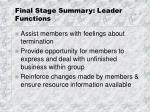 final stage summary leader functions