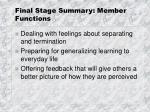 final stage summary member functions