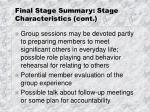 final stage summary stage characteristics cont3