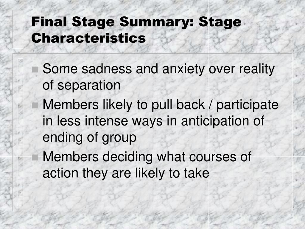 final stage summary stage characteristics l.