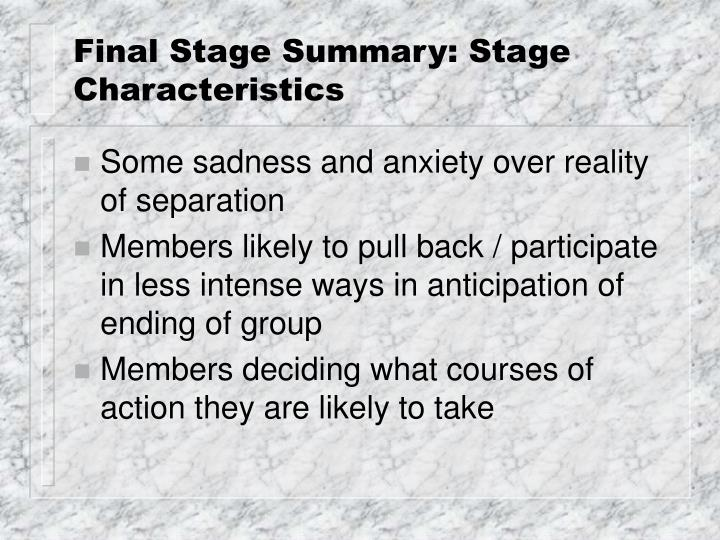 final stage summary stage characteristics n.