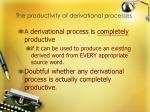 the productivity of derivational processes