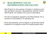 2 0 real property tax its determination and tax unit