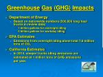 greenhouse gas ghg impacts