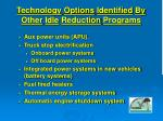 technology options identified by other idle reduction programs