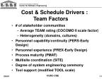cost schedule drivers team factors