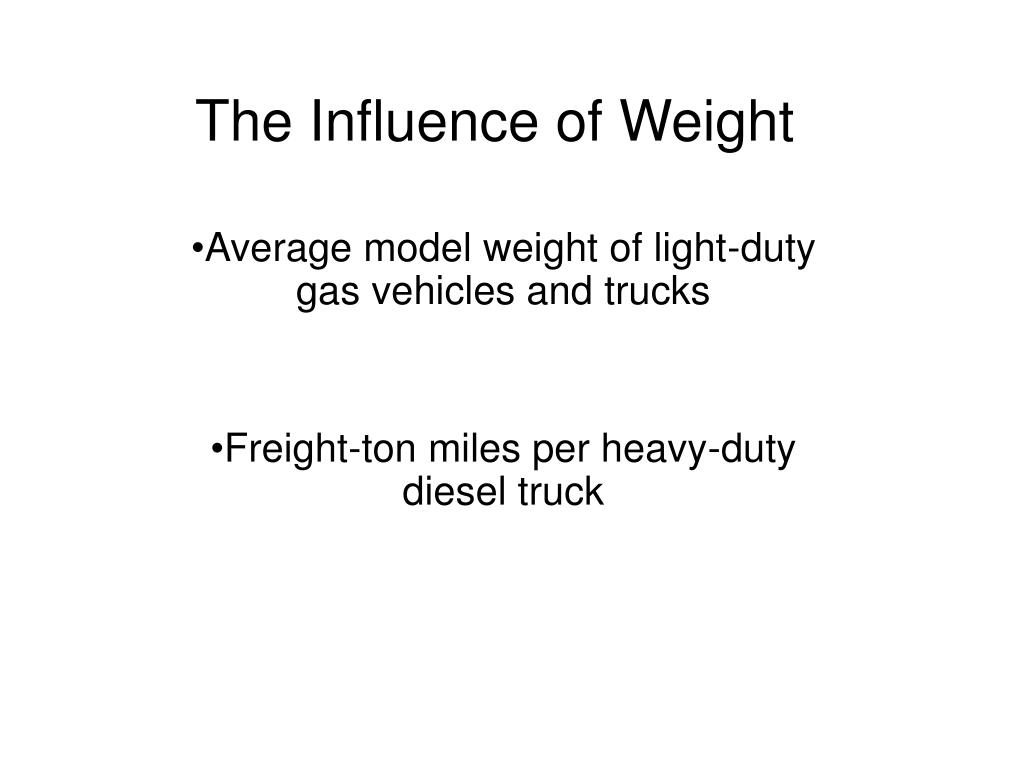 the influence of weight l.
