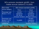nox emission standards g kwh from mobile sources before12 10 2005