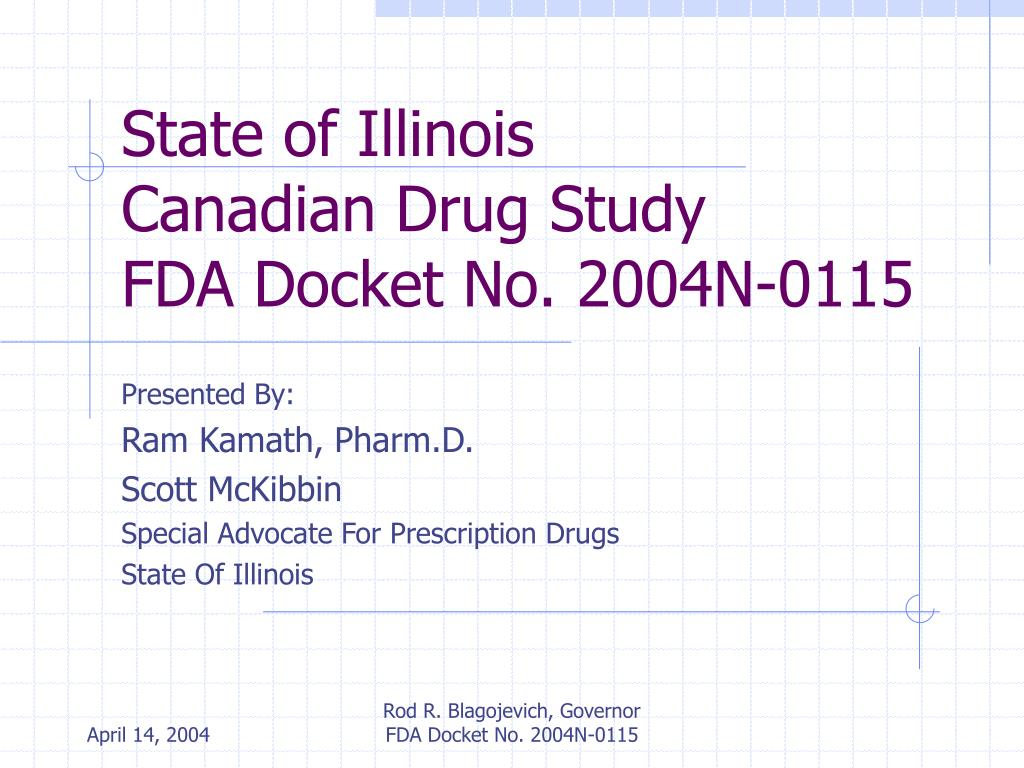 state of illinois canadian drug study fda docket no 2004n 0115