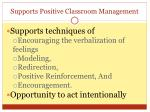 supports positive classroom management