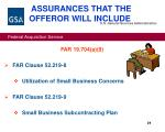 assurances that the offeror will include