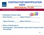 contractor identification data individual plan16