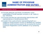name of program administrator and duties26