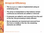arraylist efficiency