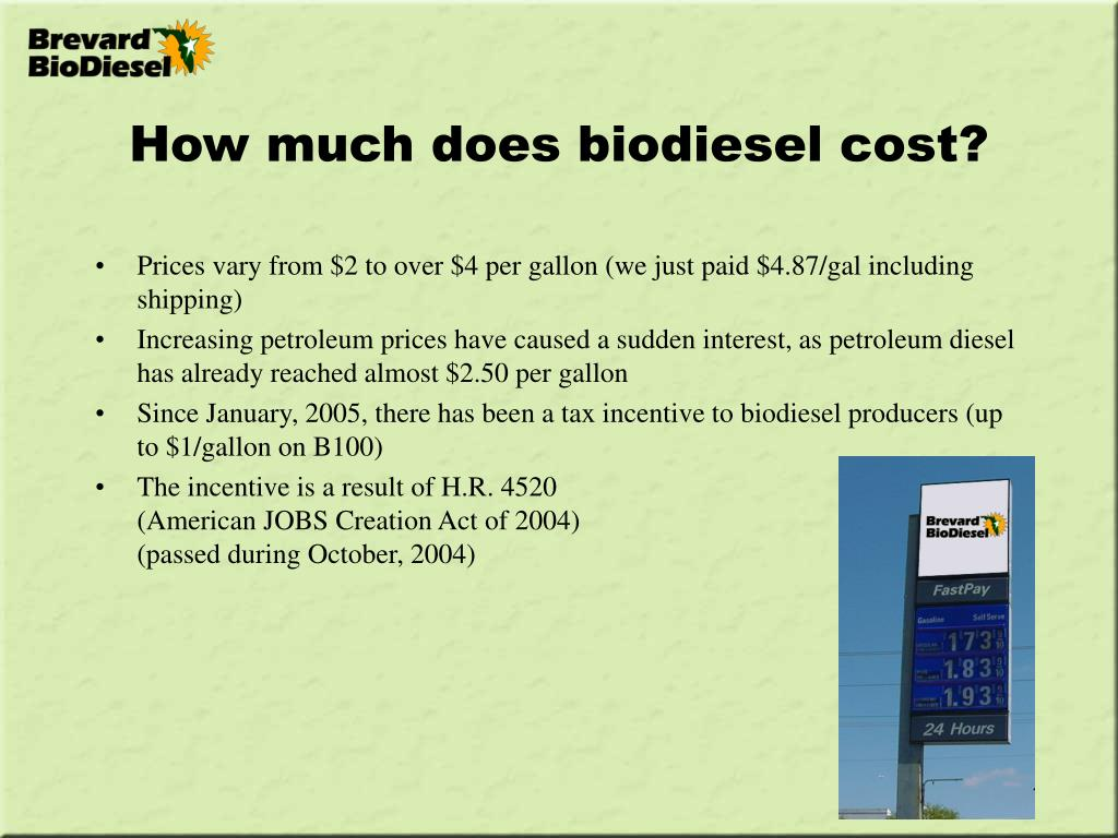 How much does biodiesel cost?