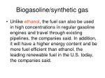 biogasoline synthetic gas