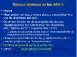 efectos adversos de los ara ii