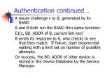authentication continued