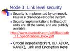 mode 3 link level security
