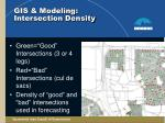gis modeling intersection density