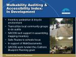 walkability auditing accessibility index in development