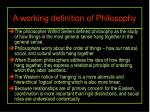 a working definition of philosophy