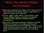 what is non western religion and philosophy