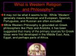 what is western religion and philosophy