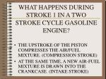 what happens during stroke 1 in a two stroke cycle gasoline engine